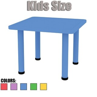 "2xhome - Blue - Kids Table - Height Adjustable 21.5"" to 22.5"" Table"
