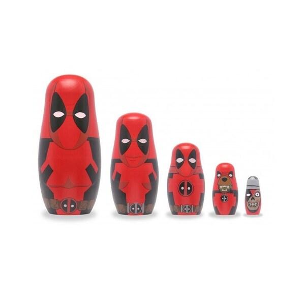 Marvel Deadpool 5-Piece Wood Nesting Doll Set - multi