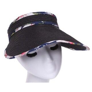 Womens Foldable Floral Wide Brim Visor Sun Hat (3 options available)