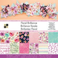 "Dcwv Single-Sided Cardstock Stack 12""X12"" 48/Pkg-Floral Brilliance, 12 Designs/4 Each"