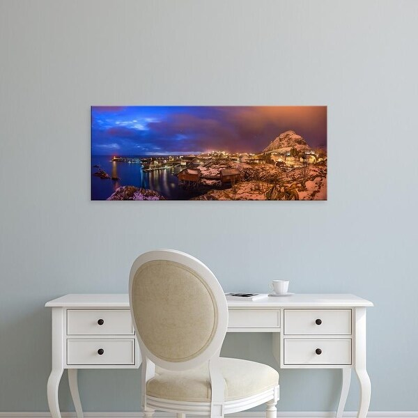 Easy Art Prints Panoramic Images's 'Fishing village at night, Lofoten, Nordland County, Norway' Premium Canvas Art