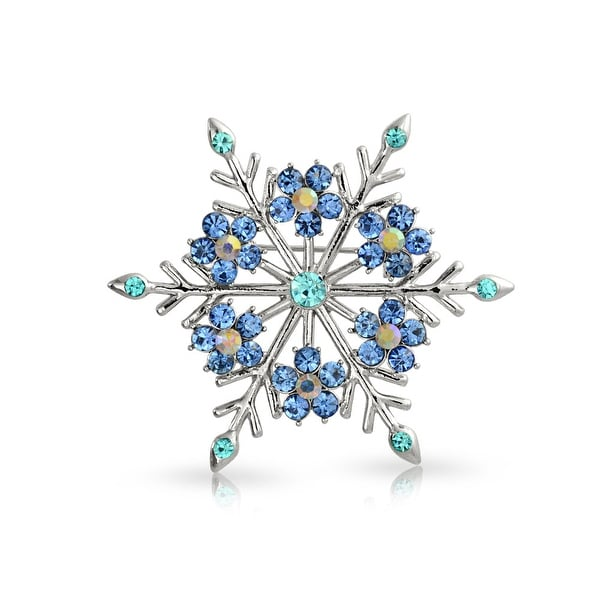 2e2c582a424 Large Winter Snowflake Aqua Blue Teal Crystal Holiday Brooch Christmas Pin  Silver Plated