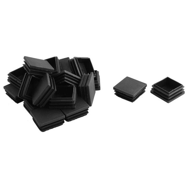 Unique Bargains 20 Pcs Antislip Plastic Square 38mm x 38mm Chair Foot Cover Table Furniture Leg Protector Black