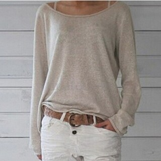 Solid Long Sleeve Knitted Shirt