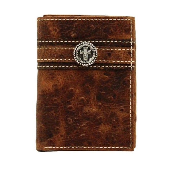 Ariat Western Wallet Mens Trifold Ostrich Print Brown - One size