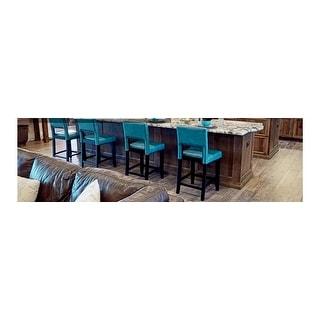 Shop Linon Zeta Ocean Blue Fabric Stationary Counter Stool