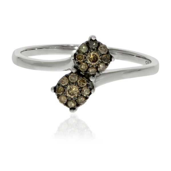 Prism Jewel 0.22Ct Natural Brown Diamond Two-Tone Bypass Cluster Ring