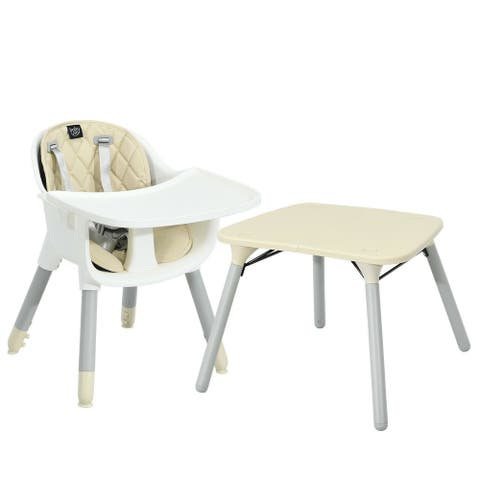 """4 in 1 Baby Convertible Toddler Table Chair Set with PU Cushion-Beige - 15.5"""" x 14.5"""" x 20"""" (L x W x H)"""