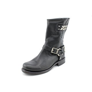 Frye Jenna Braid Stud Short Round Toe Leather Mid Calf Boot