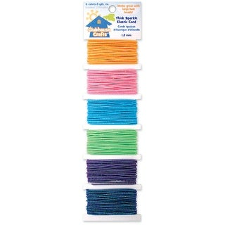 Clubhouse Crafts Elastic Cord-Thick Sparkle - 3yd Each Of 6 - thick sparkle - 3yd each of 6 colors