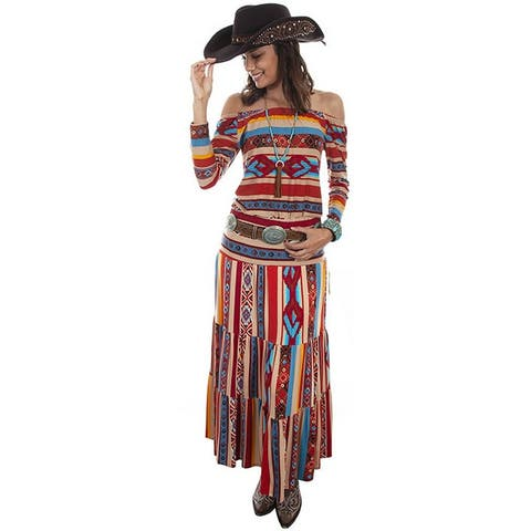 Scully Western Skirt Womens Tiered Maxi Aztec Flowy Serape