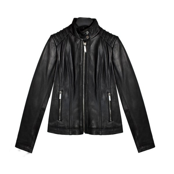 1ef673f1a Shop MICHAEL Michael Kors Women's Black Leather Jacket (XL) - Free Shipping  Today - Overstock - 27871508