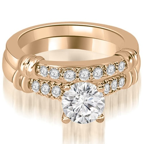 1.33 cttw. 14K Rose Gold Round Cut Diamond Engagement Set - White H-I
