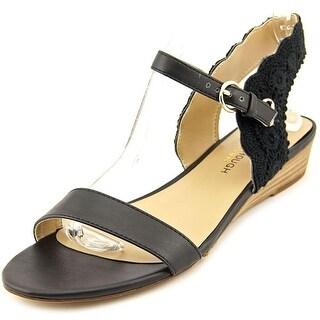 Julianne Hough Robyn Women Open Toe Leather Black Wedge Sandal