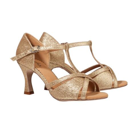 Sansha Adult Gold Shimmery T-Bar Heeled Tina Ballroom Shoes Womens