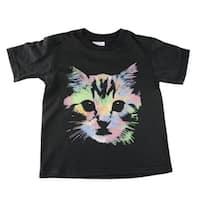 Little Kids Unisex Black Neon Kitten Face Print Short Sleeve T-Shirt