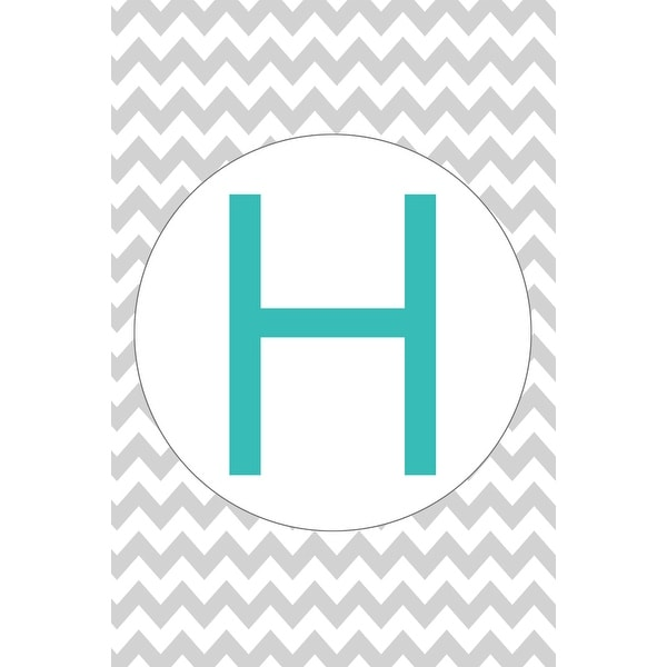 Monogram - Chevron - Gray & Teal - H (100% Cotton Towel Absorbent)