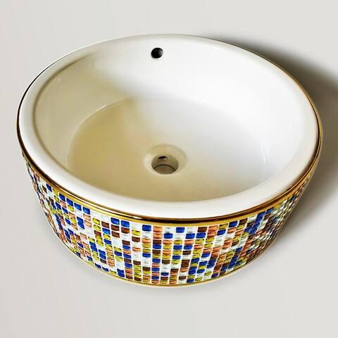 Mosaica Azul Gem Tile Vessel Sink