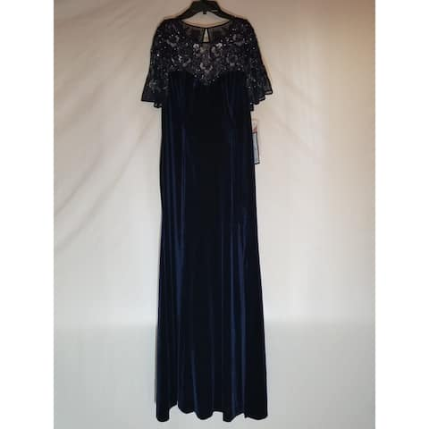 AIDAN MATTOX Navy Short Sleeve Full-Length Dress 14