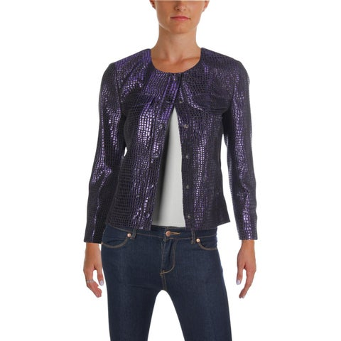 Anne Klein Womens Suit Jacket Metallic Jaquard