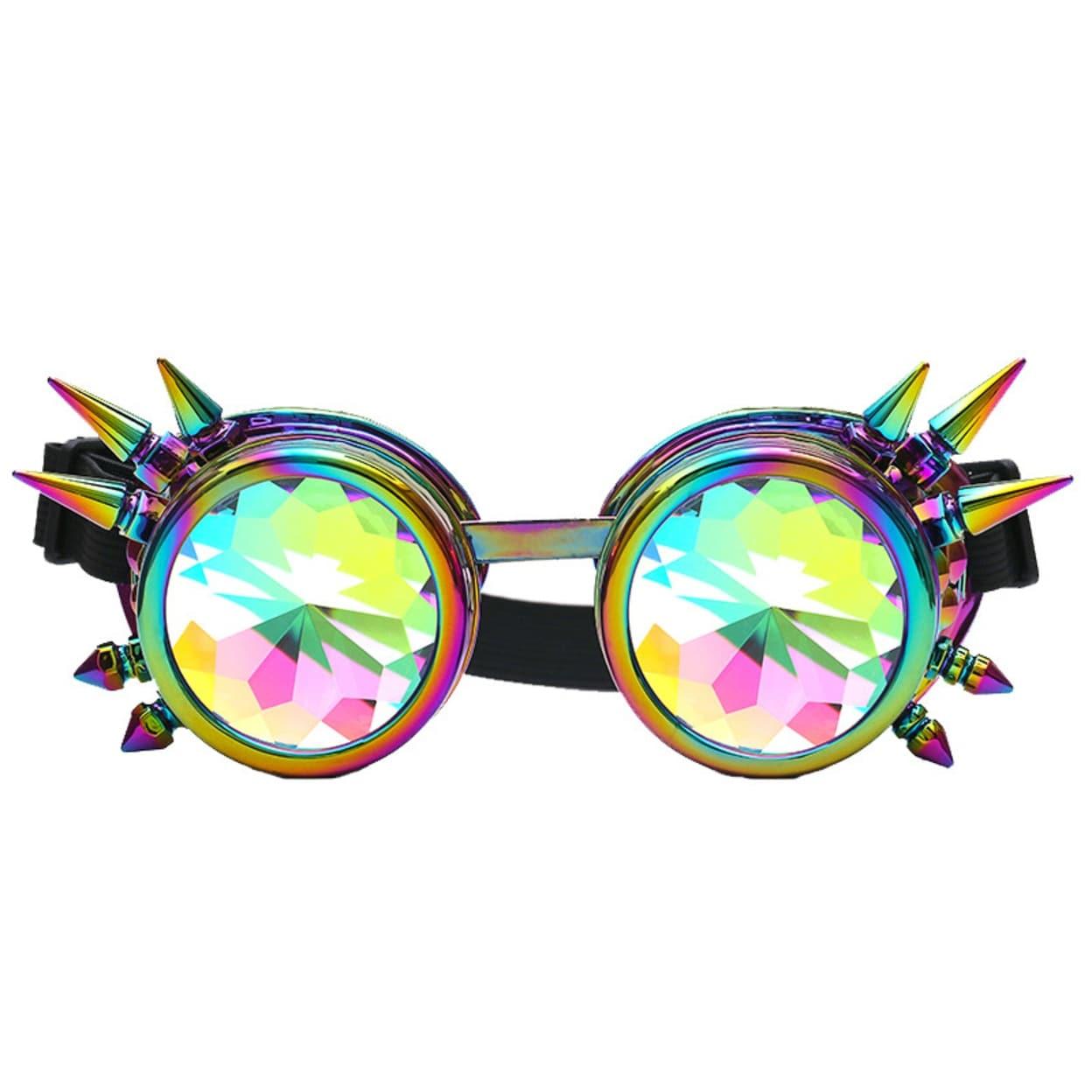 Kaleidoscope Round Crystal Lens Dance Rave Festival Party EDM Sunglasses Glasses