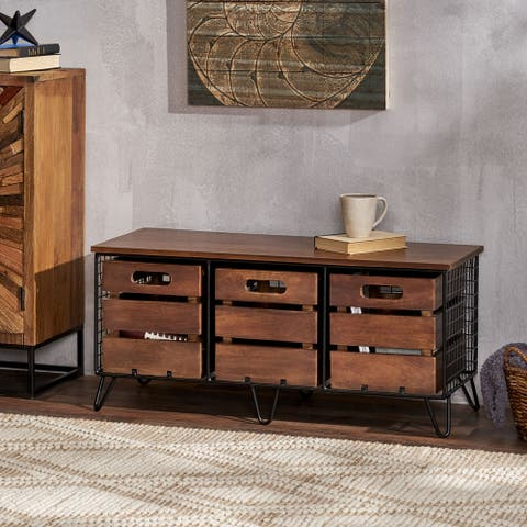 Wilhoit Indoor Mango Wood Handcrafted Storage Bench with Drawers by Christopher Knight Home
