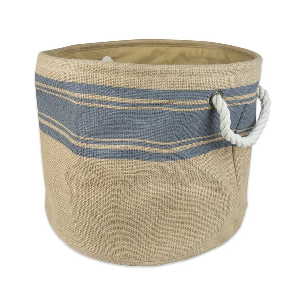 """15"""" Brown and Gray Border Pattern Rounded Medium Bin with Rope Handles - N/A"""