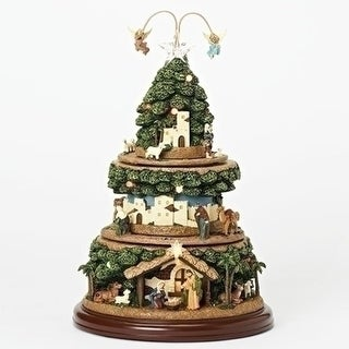 """15"""" Green and Brown Battery Operated LED Musical Nativity Tree with Rotating Tiers"""