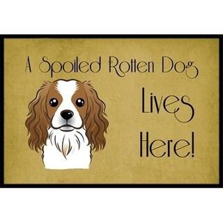 Carolines Treasures BB1472MAT Cavalier Spaniel Spoiled Dog Lives Here Indoor & Outdoor Mat 18 x 27 in.