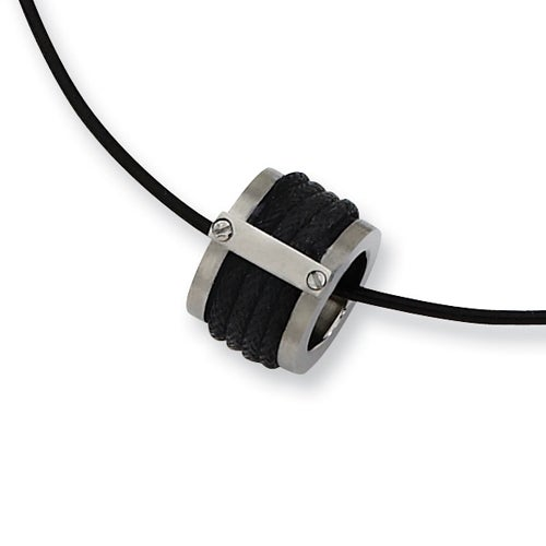 Chisel Black Leather and Brushed Stainless Steel Pendant with 18 Inch Leather Cord (2 mm) - 18 in