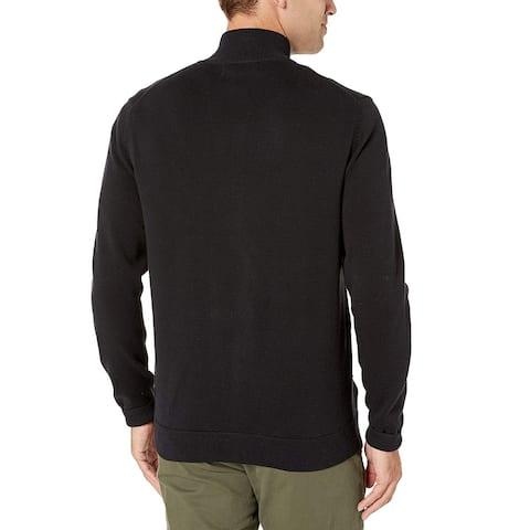 Essentials Men's Cotton Full-Zip Sweater, Black, XX-Large