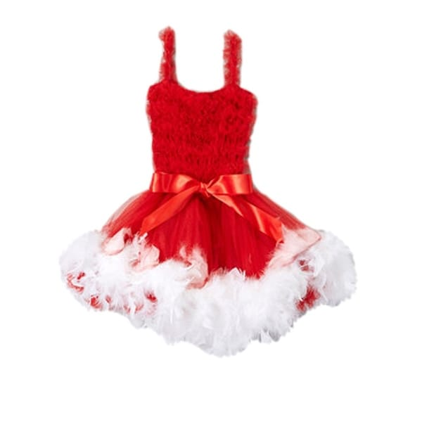 af7fc9854e Shop Girls White Red Feathery Bow Accent Flower Girl Dress 12M-7 - Free  Shipping On Orders Over $45 - Overstock - 18170637