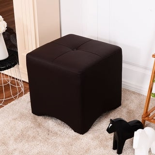 Costway PU Leather Square Cube Ottoman FootStool Rest Seating Home Furniture Brown New