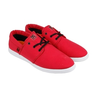 DC Haven Mens Red Textile Lace Up Sneakers Shoes