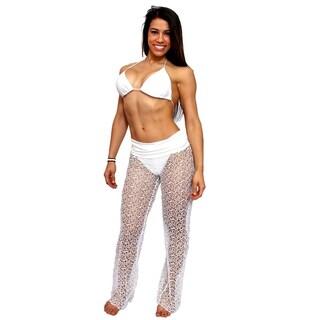 Women's Cover Up Waist Band Crochet Pants Beach Swimwear Swimsuit