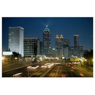 """""""Atlanta, Georgia, at night"""" Poster Print"""
