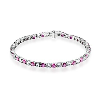 10 ct Pink and White Sapphire Tennis Bracelet in Sterling Silver