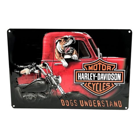 """Harley-Davidson Dogs Understand Embossed Tin Sign, 10.5 x 16.5 inches 2011241 - 10.5"""" x 16.5"""""""