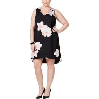 Calvin Klein Womens Plus Casual Dress Chiffon Floral Print