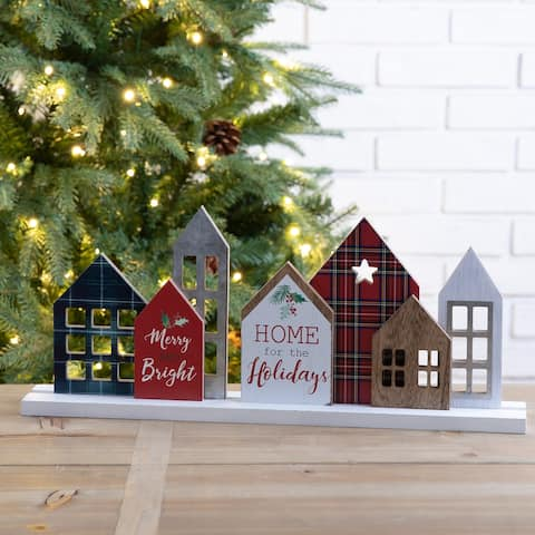 """Glitzhome 20""""L Metal and Wooden Christmas House Decor"""