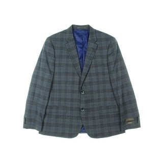 Ben Sherman Mens Bexley Two-Button Suit Jacket Wool Plaid - 42S
