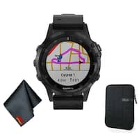Garmin FENIX 5 Plus Sapphire Edition Multi-Sport Training GPS Watch (Black w/ Black Leather Band) Basic Accessory Bundle