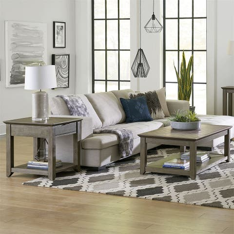 Rawson Flannel Grey 3 Pc Cocktail and Square End Tables Set