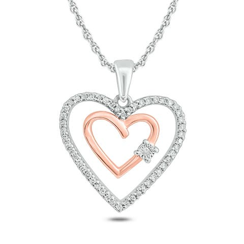 Cali Trove 10k Two Tone Rose and White Gold 1/6ct TDW Diamond Double Heart Pendant