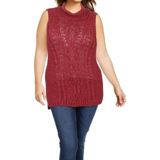 Democracy Womens Turtleneck Sweater Shimmer Sleeveless - XL
