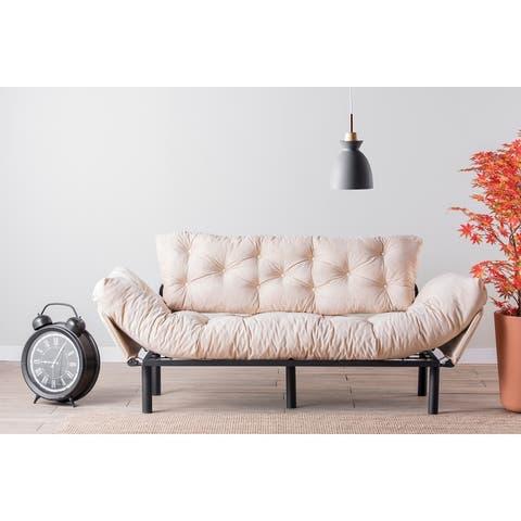 Nasim 3 Seat Metal Frame, High Density Foam, Tufted Cushions Sofa, Arms Foldable.