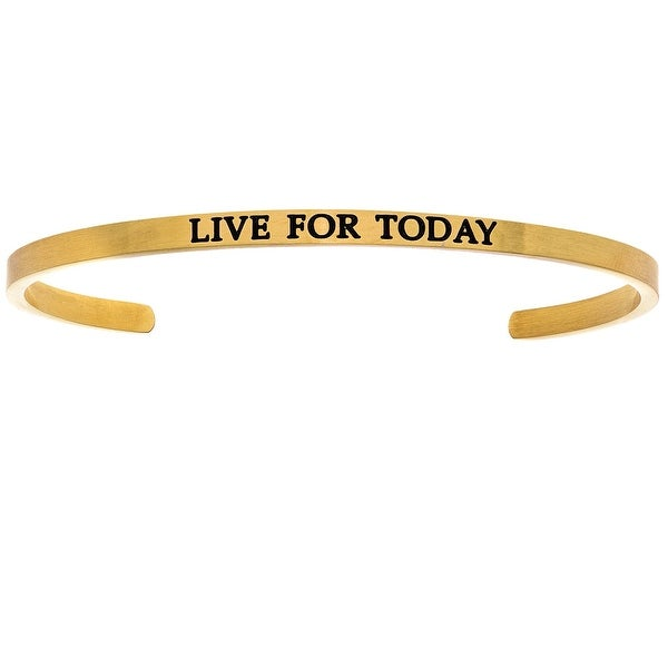 "Intuitions ""Live for Today"" Yellow Stainless Steel Cuff Bangle Bracelet"