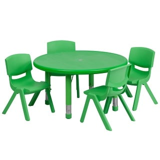 Offex 33'' Round Adjustable Green Plastic Activity Table Set with 4 School Stack Chairs