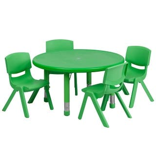 Offex 33'' Round Adjustable Green Plastic Activity Table Set with 4 School Stack Chairs|https://ak1.ostkcdn.com/images/products/is/images/direct/a8e8b79b5bbc76bc49ddec1ca6eeff7b1b531d99/Offex-33%27%27-Round-Adjustable-Green-Plastic-Activity-Table-Set-with-4-School-Stack-Chairs.jpg?impolicy=medium