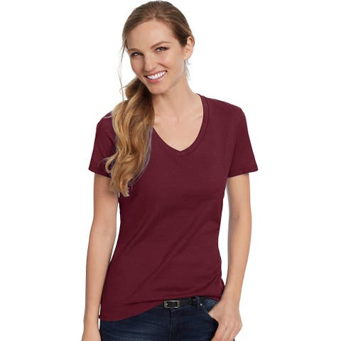 Hanes Women's Nano-T® V-Neck T-Shirt - Size - L - Color - Maroon
